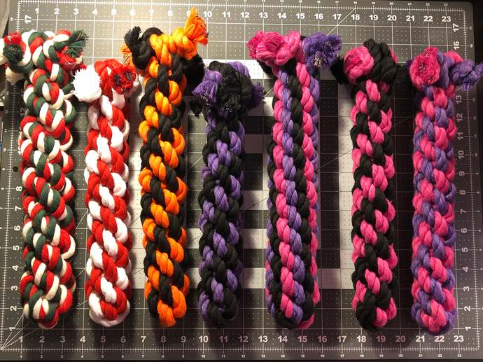 Large Dog Chew and Tug Cotton Rope Toy, Orange and Black