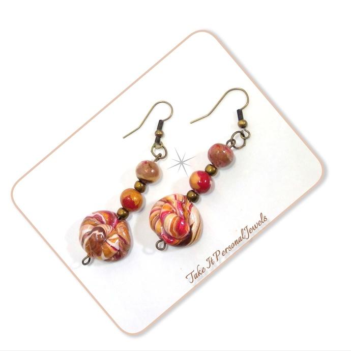 Fall Dangle Earrings, Polymer Clay Handmade Focal Beads Jewelry, High Gloss,