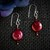 Dark Red Pearl Dangle Argentium Sterling Silver Earrings (E123)