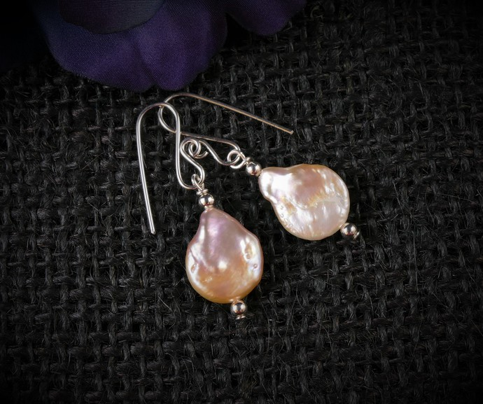 Light Golden Pearl Dangle Argentium Sterling Silver Earrings (E124)