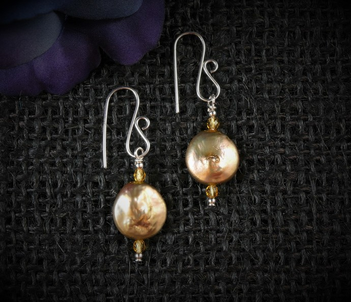 Champagne Gold Pearl Dangle Argentium Sterling Silver Earrings  -   Wire Wrapped