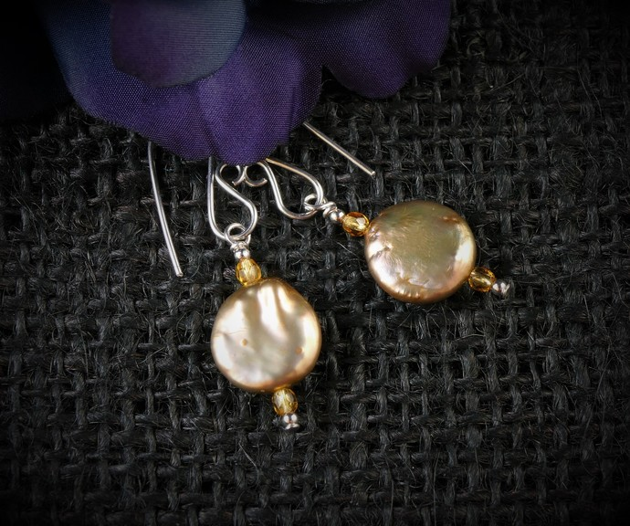 Champagne Gold Pearl Dangle Argentium Sterling Silver Earrings (E126)