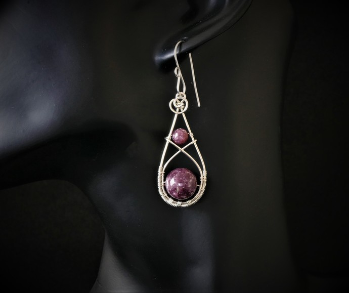 Lepidolite Sterling Silver Dangle Earrings   -  Handmade Wire Wrapped Jewelry