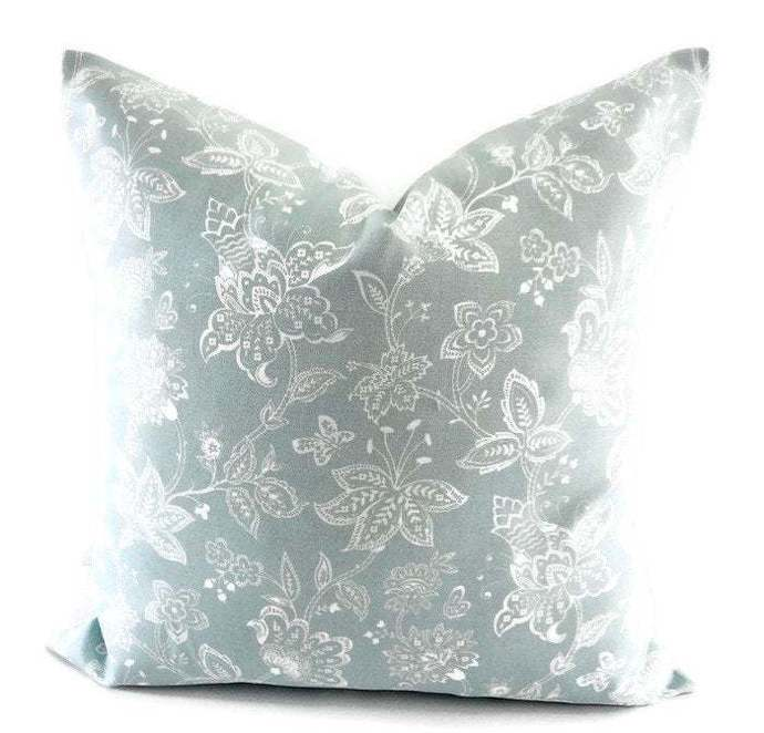 Spa Blue Pillow cover. Madelyn  Print. Sham cover. Floral  Cushion Cover.