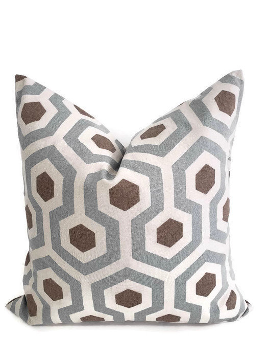 Magna Pewter  Print. Sham cover. Geometric  Cushion Cover. cotton.Select size