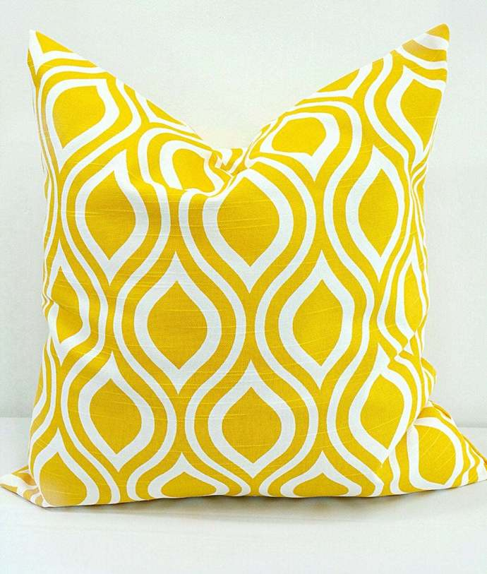 Corn Yellow Pillow cover. Nicole  Print. Sham cover. Cushion Cover.