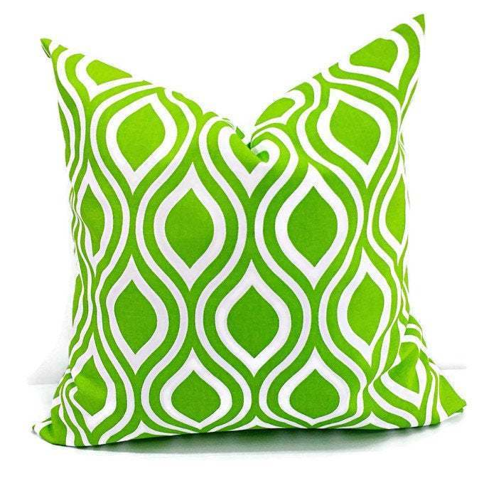 Chartreuse Green Pillow cover. Nicole  Print. Sham cover. Cushion Cover.