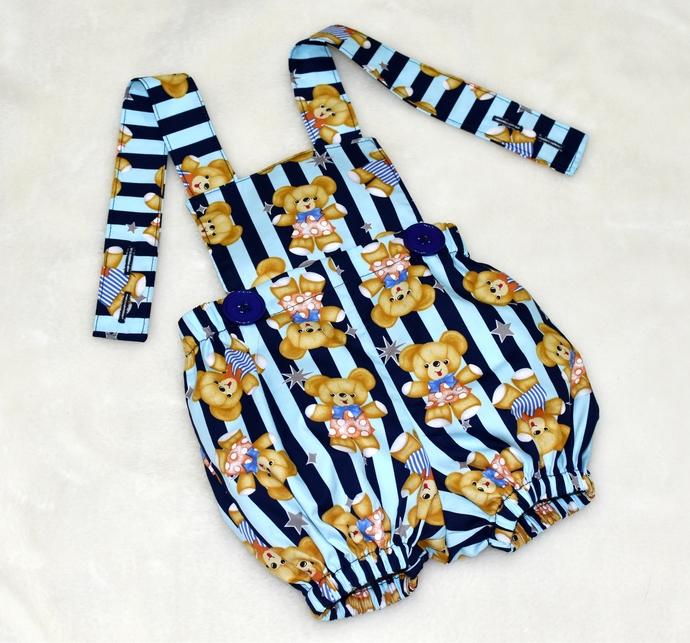 Blue Romper, Baby Bule Romper, Baby Bubble Romper, Vintage Style Romper, Toddler