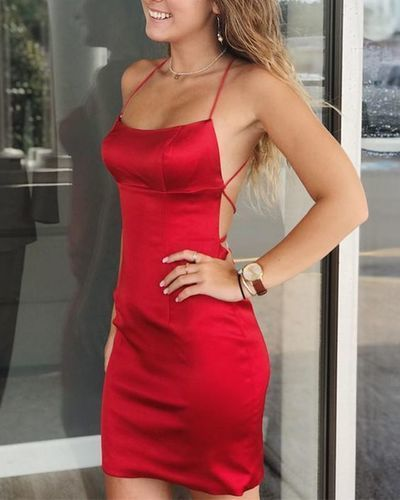 Sexy Simple Red Short Mini Party Dress, Backless Cocktail Dress