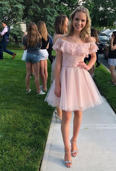 Elegant Tulle Pink Short Homecoming Dress, Princess Pink Prom Gowns