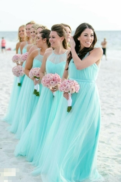 Fashion Blue A Line Pleated Bridesmaid Dress, Wedding Party Gown