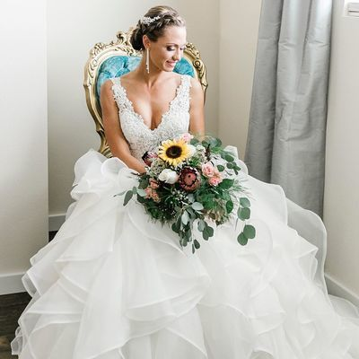 Charming V neck Appliques White Tiered Tulle Wedding Dress, Formal Bridal Gowns