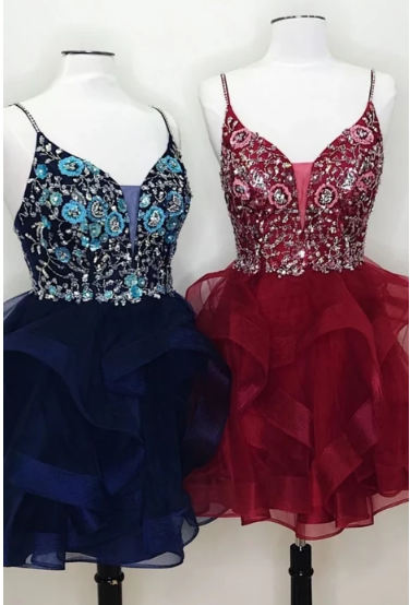 Unique v neck tulle lace short prom dress, tulle homecoming dress,502