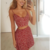 Two Piece Spaghetti Straps Floral Print Homecoming Dress,503