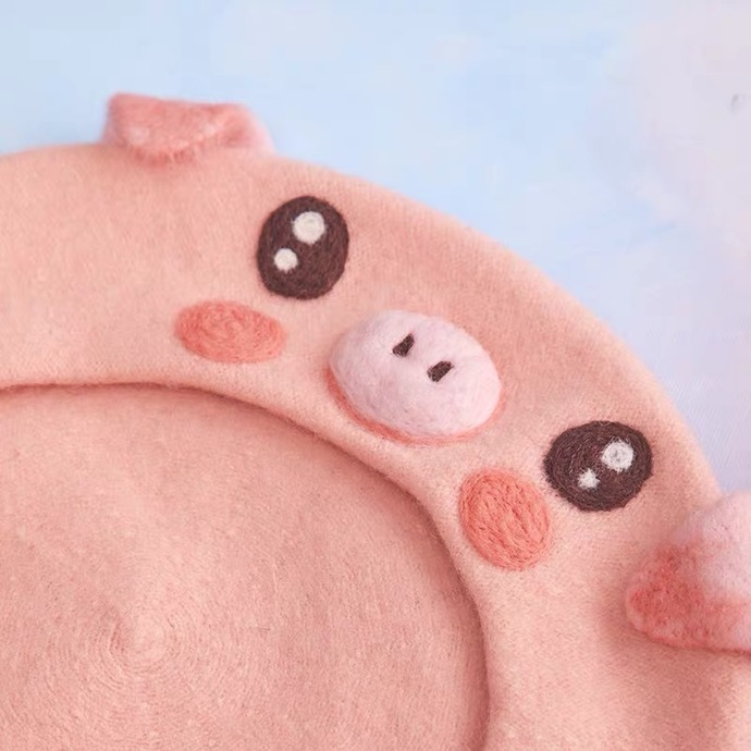 Needle Felted French Beret Hat: Cute Pig Head