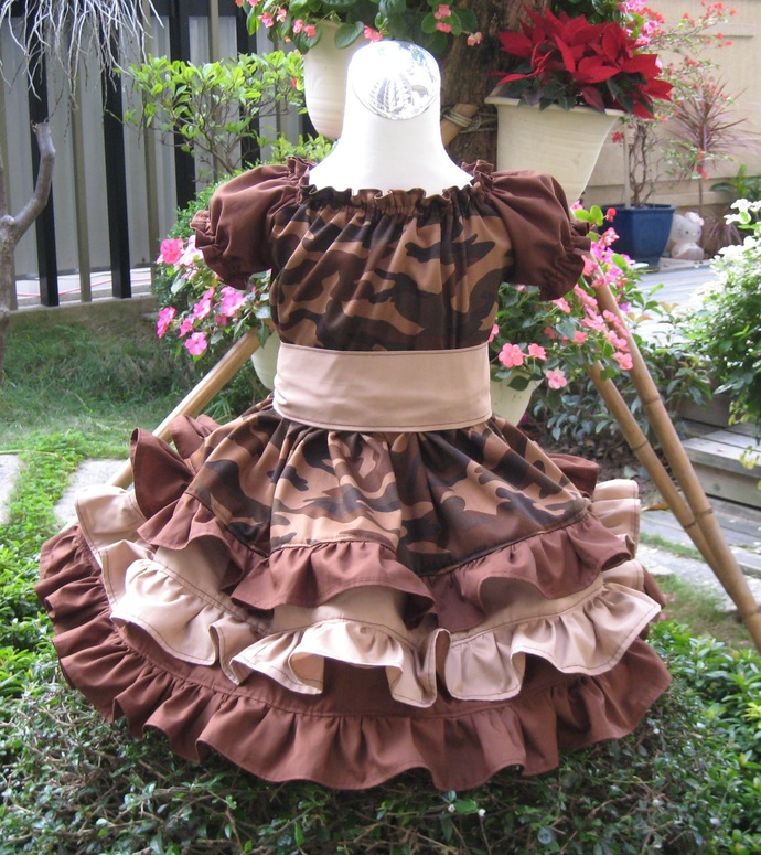 Camouflage Brown Triple Ruffle Peasant Dress Custom Boutique, Girl Ruffle Dress,