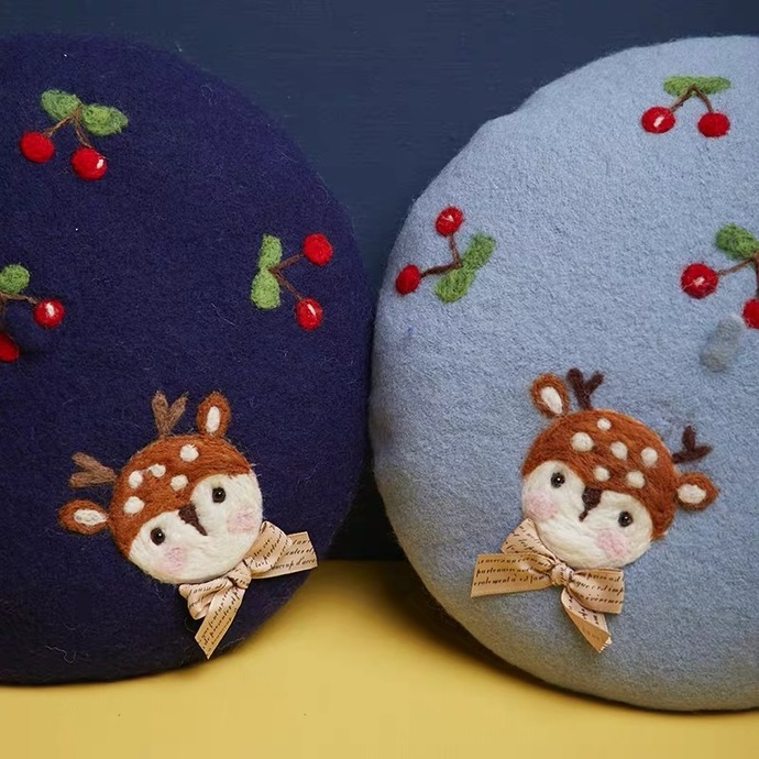 Needle Felted French Beret Hat: Cute Deer