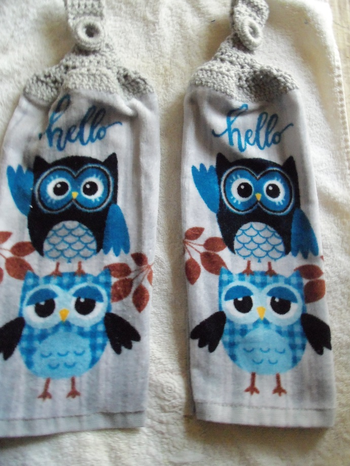 Owls Teal and Dark Blue Hello Design Kitchen Towels (2)