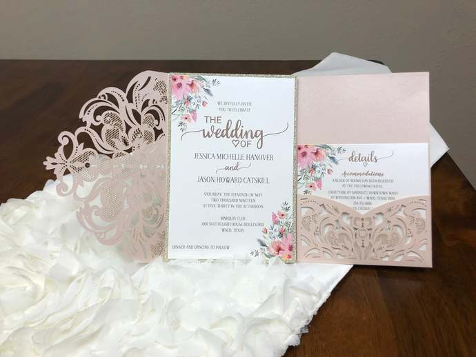 More Colors Lace Tri-Fold Laser Cut Wedding Invitations Design Pocket Wedding