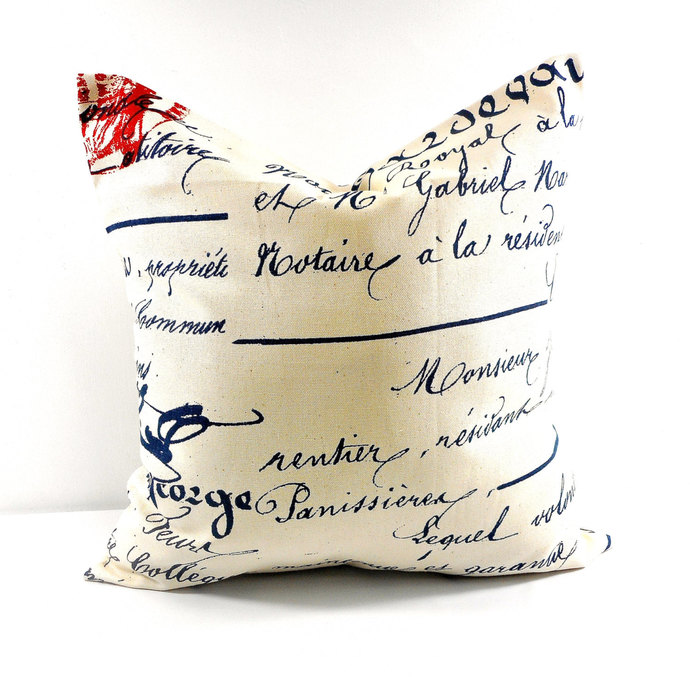 Penmanship Pillow cover. French writings sham cover. Natural and Navy. Pillow