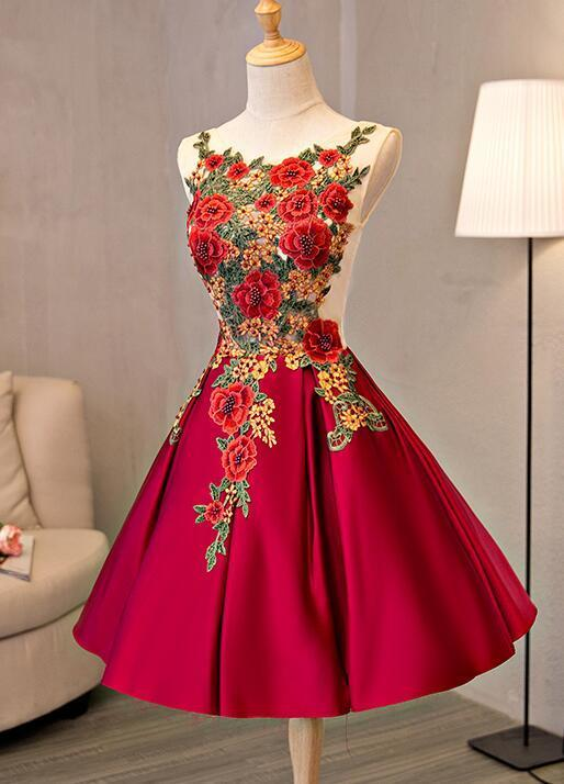 Lovely Red Lace Applique Flower Homecoming Dress, Red Prom Dress