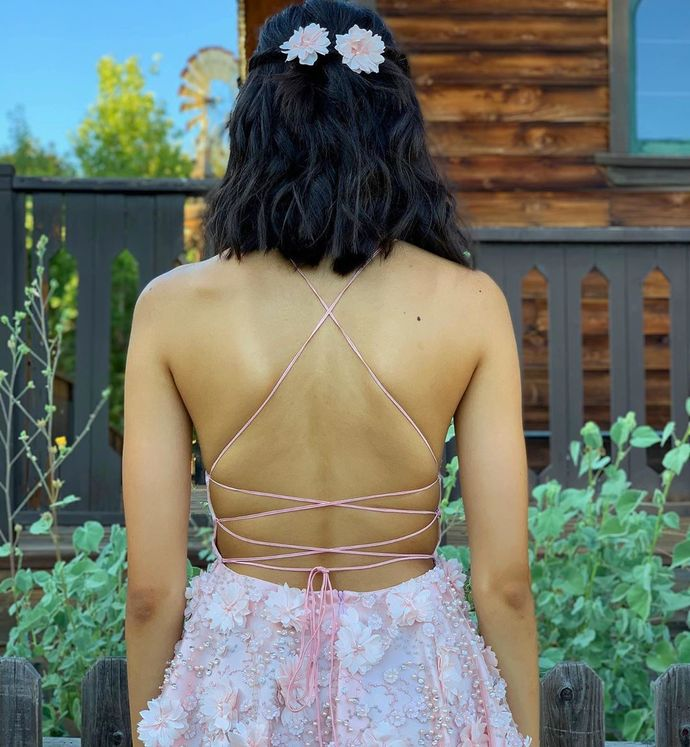 Custom Made Pink Straps Short Party Dress with Handmade Flower