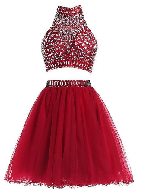 Elegant Tulle Red Two Piece Homecoming Dress, Short Homecoming Dresses