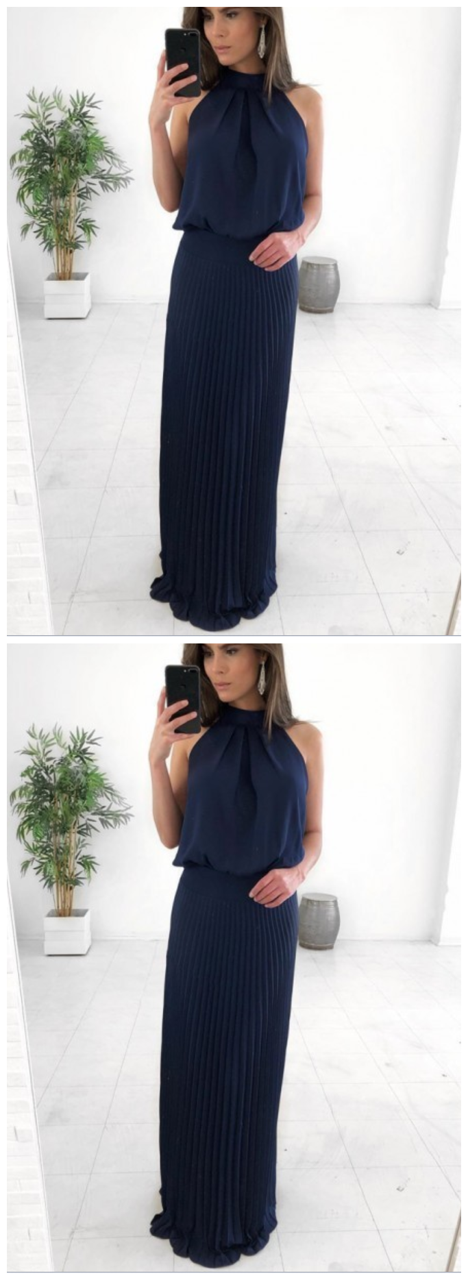 Sheath Jewel Floor-Length Navy Blue Pleated Chiffon Prom Dress  AE399