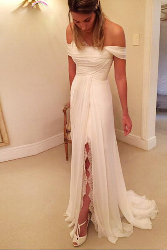 A-Line Off-the-Shoulder Wedding Dresses, Beach Wedding Dress with Lace Split