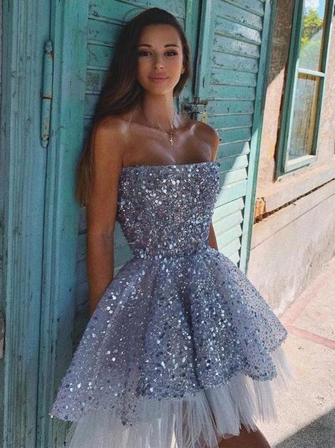 Sparkly Sequin Tulle A Line Backless Short Homecoming Dress