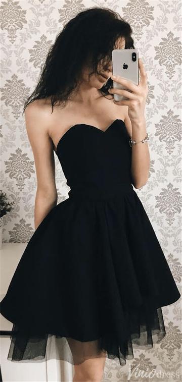 Cute Black Simple Short Homecoming Dresses
