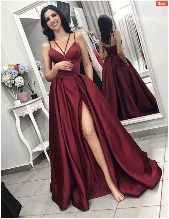 Spaghetti Straps Burgundy Prom Dresses with Split Front,523