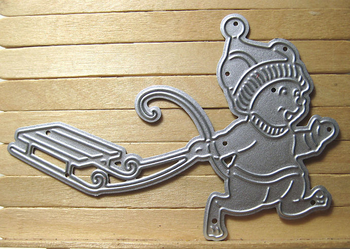 Young Mouse with Snow Sled Cutting Die