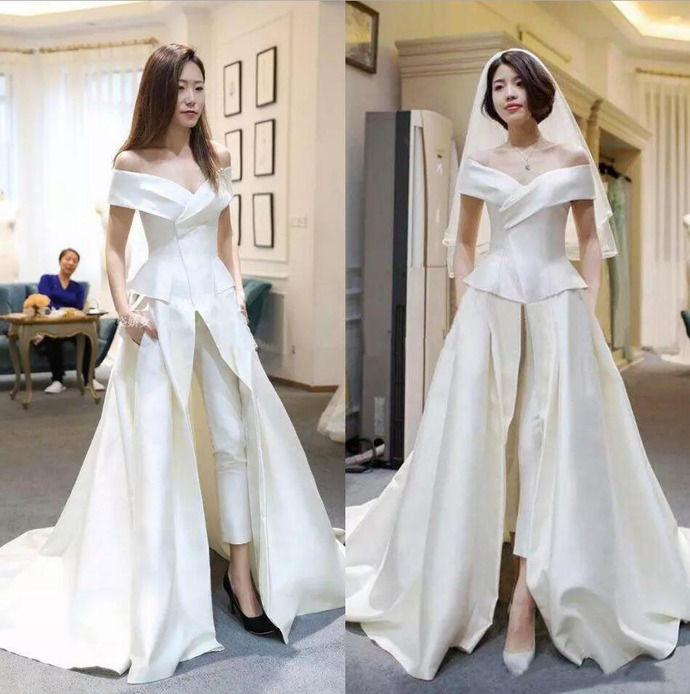 Vintage Off The shoulder Satin Bridal Jumpsuits Sleeveless With Pants Overskirt
