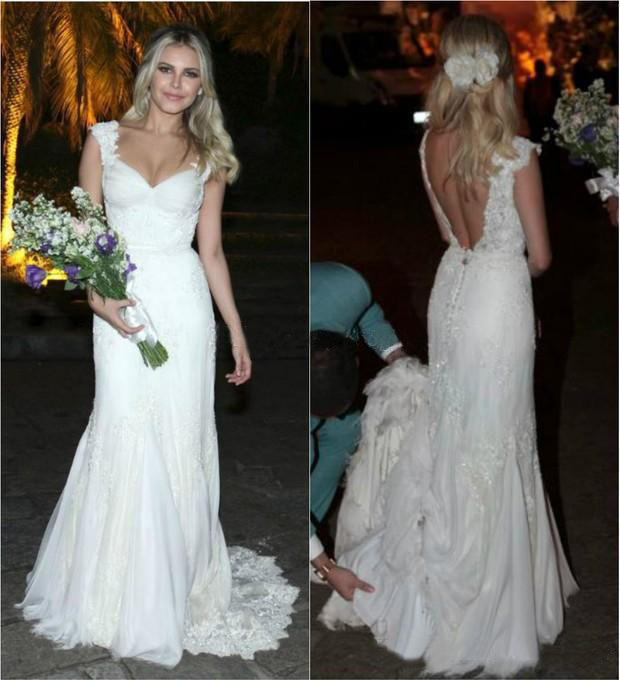 2019 Sexy Full Lace Wedding Dresses Cap Sleeve Sexy Backless A Line V Neck