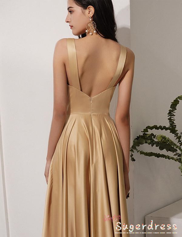 A Line Greek Style Gold Prom Dress with Pleats 8001788