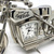 Coca Cola Indian Motorcycle Silver Metal Desk Clock w/ Minor Wear - Tested Works
