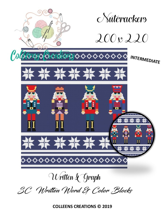 Nutcrackers Crochet Written Word, Color Blocks, & Graph Design