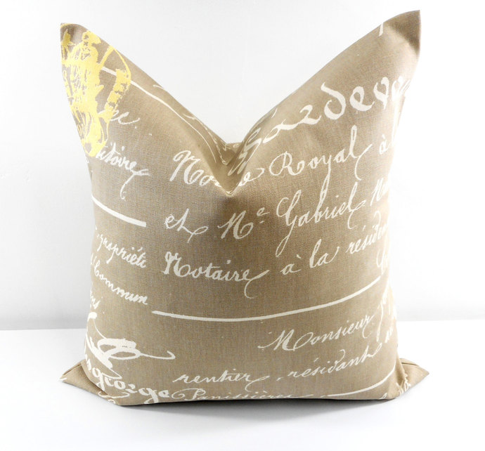 Penmanship Pillow cover. Sunny Brown  Natural French writings sham cover.