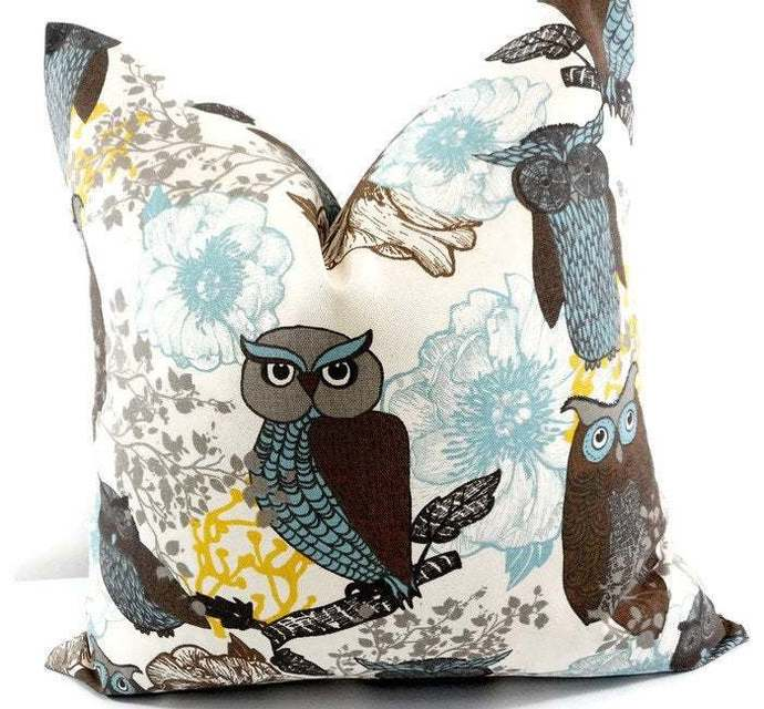 Brown Pillow cover. Owl Print Sofa Pillow cover. Brown Owl. Peepers Brown & Blue