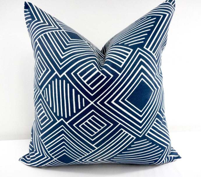 Oxford Blue Pillow Cover. Indoor outdoor. Phase print. Oxford Blue  Sofa Pillow