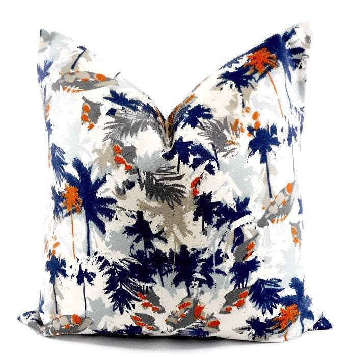 Off white & vintage Blue Pillow Cover. Palm Print Sofa Pillow cover. Mix colors