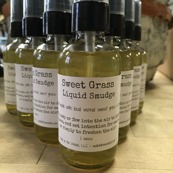 Handcrafted Sweet Grass Liquid Smudge, 2 oz. Bottle