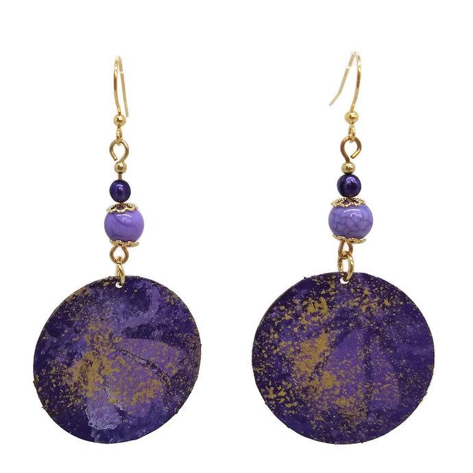 Violet Purple Painted Round Earrings, Nickel Free Gold Plated Ear Wires, Jam