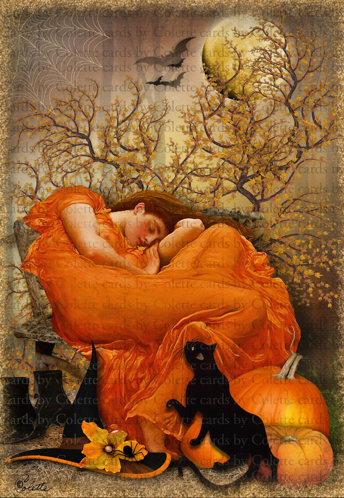 Halloween Witch Sleeping Digital Collage Greeting Card340