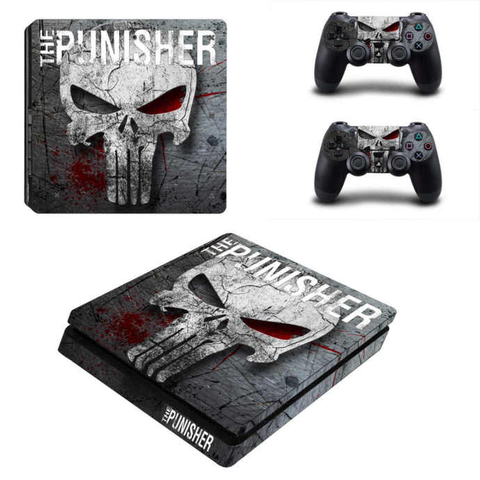 The Punisher ps4 slim skin decal for console and controllers