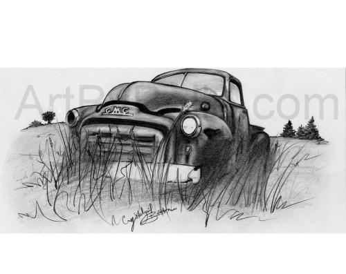 """""""Out to Pasture"""" Old Truck Print (GMC)"""