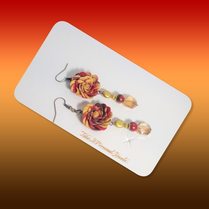 Statement Flower Earrings, Handmade Flower and Beads, Red, Dangle style,