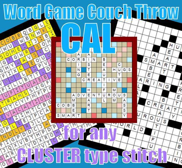 CGL WORD GAMES COUCH THROW Group Pass (Paid) Crochet ALong (3) Game Boards