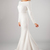 2019 New Mermaid Crepe Long Modest Wedding Dresses With Long Sleeves Boat Neck
